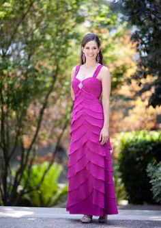 2015 Fuchsia Straps Ruched Tiers Sleeveless Chiffon Floor Length Mother of the Bride Dresses Avanti MBD7860