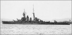 14 in Japanese Kongo class battlecruiser Hiei at Sasebo, June 1926. All 4 were subsequently converted to fast battleships in the 1930s: Hiei was Japan's first battleship loss of WW2, being scuttled after becoming uncontrollable due to heavy combat damage at Guadalcanal in November 1942.