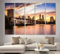 Brooklyn Bridge at sunset Brooklyn Bridge park Brooklyn Bridge Wall ArtNew YorkBrooklyn BridgeManhattan Sunset Large Wall Art Bridge by ArtWog Large Wall Art, Canvas Wall Art, Canvas Prints, Office Wall Decor, Office Walls, New York Poster, Brooklyn Bridge Park, Thing 1, Rest Of The World
