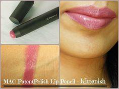 MAC PatentPolish Lip Pencil Kittenish Review, Swatch, LOTD
