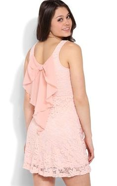 Deb Shops #Lace Skater #Dress with Bow Accent Back $35.00