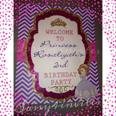 Sofia the First Party Welcome sign by Sassy4Invites on Etsy, $15.00