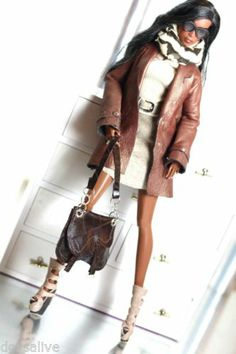 dollsalive outfit,for fashion royalty, fr2 brown leather coat, leather shoes,bag