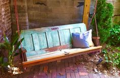 What on earth you can not do with your old wooden doors? Take a look at this beautiful rustic couch cum garden swing. This can be easily built by nailing two wooden doors together and suspending them with a wooden frame. Again you can paint it and can add upholstery or cushions for added comfort.