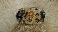 Leren armband Didem, Skull