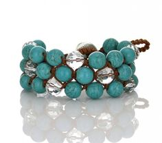 10mm Turquoise with Crystal on Chocolate Wax Cord  Beaded Bracelet $48