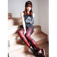 Spraypaint Red Leggings by Black Milk Clothing http://xthecoldfrontx.tumblr.com/