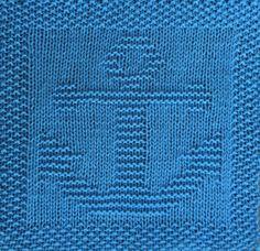 Free knitting pattern for anchor dishcloth, washcloth, afghan square or blanket . Free knitting pattern for anchor dishcloth, washcloth, afghan square or blanket square. Knitted Squares Pattern, Knitted Washcloth Patterns, Knitting Squares, Knitted Washcloths, Dishcloth Knitting Patterns, Knit Dishcloth, Knitted Blankets, Crochet Patterns, Baby Blankets