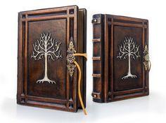 Árbol de Gondor  diario de cuero grande  7.5 x 10 por aLexLibris