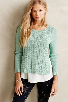 NWT Anthropologie Moth Mint Cabled Ella Pullover Spring Cami Sweater Top M  #AnthropologieMoth #Pullover