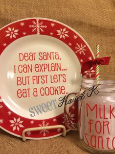Dear Santa cookie plate & Milk for Santa mug