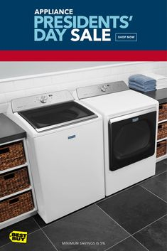 Get up to 35% off Appliance Top Deals, including Maytag washers and dryers. The PowerWash cycle fights everyday stains and the Advanced Moisture Sensing dryer knows how long each piece of clothing needs, making sure your items are just the right amount of dry.