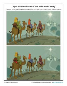 As they spot the differences between two pictures of the wise men's visit to see and honor the child Jesus, children will learn of the importance of worshiping Jesus.