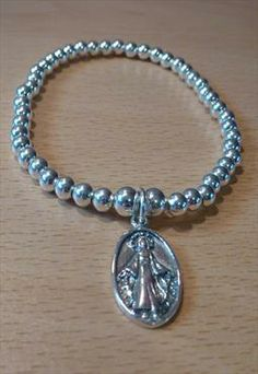 Sterling Silver Ball Bracelet with Virgin Mary