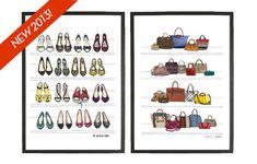 Set of 2 Fashion Illustration Prints of Designer Dream Fashion Closet, Archival Art Giclee Poster Prints of shoes, purses, and handbags via Etsy