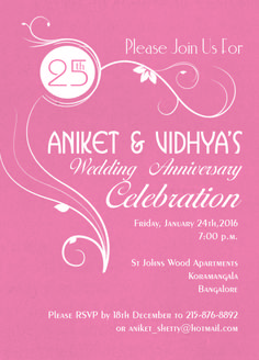 pink 25th wedding anniversary invitaion card with wording