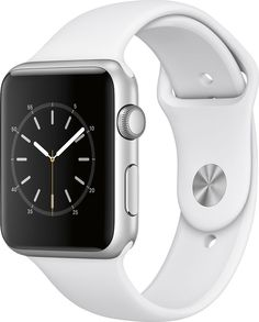 Apple - Apple Watch Series 1 42mm Silver Aluminum Case White Sport Band - Silver Aluminum