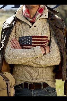 Polo Ralph Lauren American Flag Button Mock-neck Sweater
