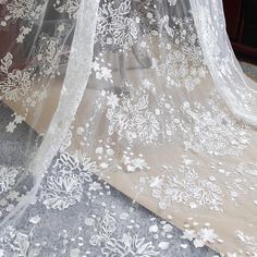 Sequin Lace Fabric/Floral Lace Fabric/Unique Bridal Lace Embroidered w | Zeng's Lace