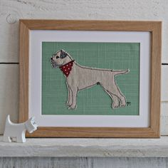 """This cute fella is bound to delight any devoted border terrier owner and he's ready for adventure with his little red necktie. Size approx: 10"""" x 8"""""""
