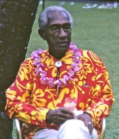 The Man of Aloha Duke Kahanamoku Styling in his Aloha Shirt.
