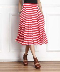 Red Stripe Midi Skirt #zulily #zulilyfinds