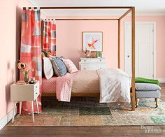 Paint your bedroom walls a pretty shade of pink! The muted hue is subtle, soft and so versatile. Add neutral colored accessories to complete the look.