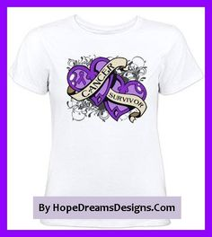 Pancreatic Cancer Survivor shirts and gifts featuring double hearts with floral accents and an awareness ribbon to signify survivorship, love and support by hopedreamsdesigns.com