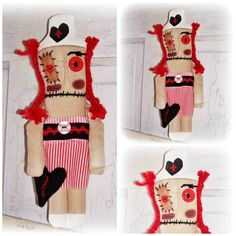HANDMADE Folk Art Whimsy Nurse Voo Doo Monster Doll by EerieBeth