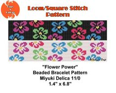 Flower Power, Haight-Ashbury, Loom or Square Stitch Bracelet Pattern, Cuff Pattern, Instant Download