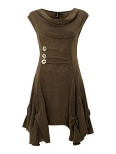 Izabel London Cut & Sew Dress Khaki - House of Fraser