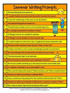 FREEBIE - Summer Writing Prompts to get them writing. Great ideas for End of Year writing activities! Writing Prompts 2nd Grade, Kindergarten Writing Prompts, Writing Prompts Romance, Writing Prompts For Kids, Creative Writing, Literacy, Writing Ideas, End Of Year Activities, Writing Activities