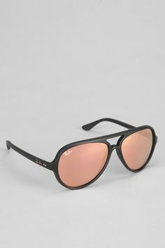 Ray-Ban Black Matte Pink Mirror Aviator Sunglasses