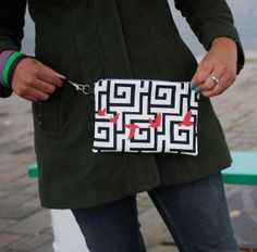 White with Black Geographic Print Bag with Hand by BrandEShop, $25.00