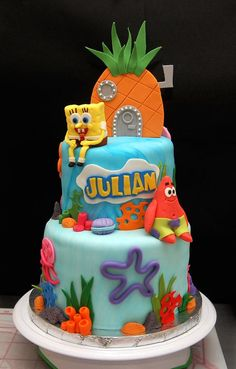 Spongebob Cake. love the gumpaste pineapple on top