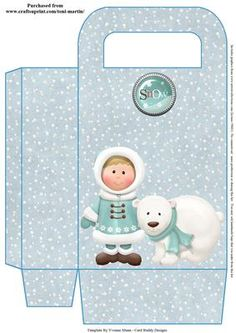 Little winter boy polar bear friend christmas gift bag on Craftsuprint - View Now!