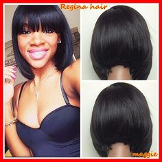 bob lace wig glueless full lace/lace front short bob haircuts human hair wigs with bangs baby hair For Black Women-in Human Wigs from Health Bob Haircut With Bangs, Wigs With Bangs, Hairstyles With Bangs, Weave Hairstyles, Latest Hairstyles, Short Bob Wigs, Short Bob Haircuts, Short Hair Cuts, Laura Lee