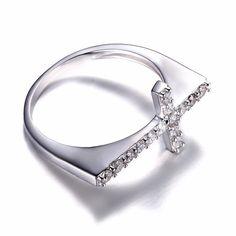 Sideways Romantic Cross 0.4ct Anniversary Ring