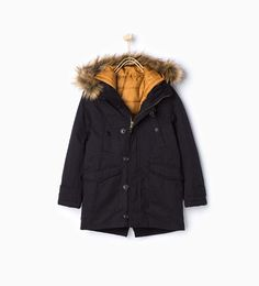 Parka with detachable lining and hood