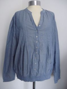 Elasticated Hem Blouse Chambray COTTON TRADERS Tunic Top Denim Blue Size 20 BOHO