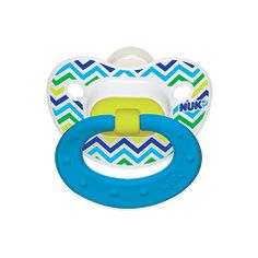 NUK® Chevron Orthodontic Pacifier supports healthy oral development and its natural shape nipple mimics the shape of mom's while breastfeeding.
