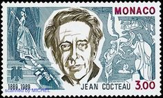 Monaco 1989 - Jean Cocteau french poet and film director (Monaco) birthday of Jean Cocteau) Postage Stamp Design, Postage Stamps, Monaco, Jean Cocteau, Film Director, Stamp Collecting, Famous People, Writer, Artist