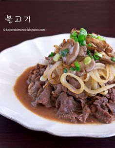 Bulgogi- Korean beef dish, usually cooked on a hibachi at the table- this one is fried in a pan, but sounds good!