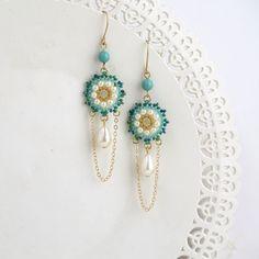 Statement earring, Gold chandelier earrings, Long dangle earrings ...