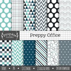 Boy Digital Paper Blue Digital Scrapbook Paper Preppy by Pininkie