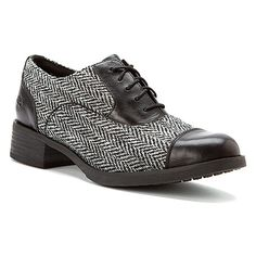 Timberland Beckwith Fabric and Leather Lace Oxford | Women's - Black Smooth/Grey Harris Tweed® Wool