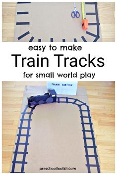 Inspire awesome pretend play with easy to make train tracks. The train track is easy to make with tape and cardboard. Add a locomotive and train station to the scene to support creative small world play. #pretendplay #playideasforkids Cardboard Train, Small World Play, Homemade Toys, Train Tracks, Imaginative Play, Pretend Play, Train Station, Locomotive, Toddler Activities