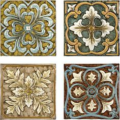 @Overstock.com - Set 4 Old Spanish Mission Rosette Design Wall Tiles - These beautiful wall tiles are handcrafted in China by artisans who help keep tradition alive through their work. This set of four tiles combine to form a cohesive piece of art that can highlight any home or office.  http://www.overstock.com/Home-Garden/Set-4-Old-Spanish-Mission-Rosette-Design-Wall-Tiles/5179814/product.html?CID=214117 $83.99