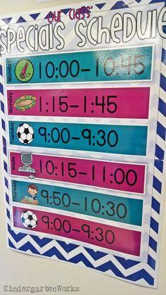 Weekly Specials Schedule - Kindergartenworks - perfect for my classroom