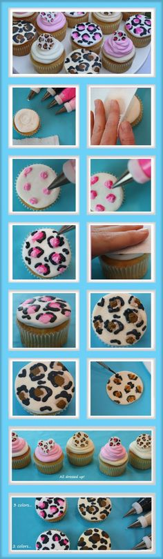 Leopard Cupcake Icing Tutorial - Melissa My Cake School. 2 icing; 3 icing; painting on fondant with mixture of vodka/ colored food gel. Basically she lays down lightest icing, adds darker color and accents with black (not all the way around the design). When the icing has just crusted, she smooths with a paper towel. What a beautiful Decorating Tip!!!!  Great Site!